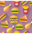 Flat style seamless pattern fast food background vector image