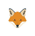 fox head in pixel art style wild animal vector image