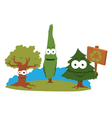 Funny Trees Holding A Recycling Sign vector image vector image