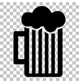Glass of beer sign Flat style black icon on vector image
