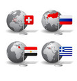 gray earth globes with designation switzerland vector image vector image