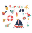 hand drawn cute summer elements vector image vector image