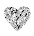 hand drawn sketch of heart with ornaments vector image vector image