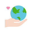 hand holding globe or planet earth icon flat vector image