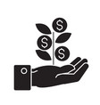 hand with money tree black concept icon vector image vector image