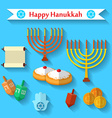 Happy Hanukkah flat icons set with dreidel game vector image vector image