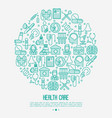 health care concept in circle with thin line icons vector image