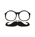 Men face with mustache and huge nerd glasses vector image