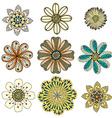 monochrome doodle flowers vector image