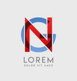 ng logo letters with blue and red gradation vector image vector image