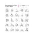 parent and child interaction linear icons set vector image vector image
