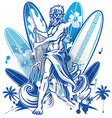 poseidon surfer on surfboard background vector image vector image