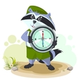 Raccoon scout holding compass vector image vector image