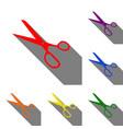 scissors sign set of red orange vector image vector image