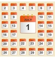 Set of icons for the calendar in July vector image vector image