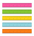 set of multicolored school measuring rulers with vector image vector image