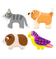 set toy pets vector image vector image