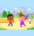 smiling kids playing at the playground vector image