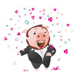 tenor pig sings opera sucessful vector image