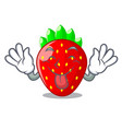 tongue out fresh strawberry in a bowl cartoon vector image vector image