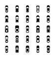 top view colorful cars glyph icons vector image