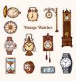 vintage classic pocket watch alarm clock vector image vector image