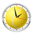 wall clock tennis style on white background vector image vector image