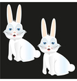 White rabbit sitting with and without lines isolat vector image vector image