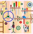 a set of tools on the shelves of the workshop vector image