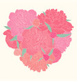 beautiful heart decorated flowers peony i love vector image