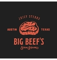 Big Beef Steak House Retro Label Emblem or vector image vector image