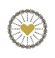 black and golden circle heart wreath emblem icons vector image vector image