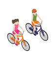 boy and girl cyclists riding on a bicycle flat 3d vector image