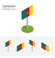 cameroon flag set of 3d isometric flat icons vector image