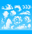cartoon clouds and smoke dust cloud fast action vector image