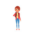 cartoon female character in red jacket yellow t vector image vector image
