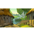 cartoon landscape rustic hut by the river vector image vector image