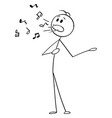 cartoon man or singer singing with musical vector image