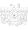 children playing in a toy house vector image vector image