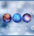 christmas card with ball and snowflakes vector image