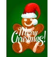 Christmas gingerbread man in santas red hat vector image