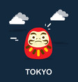 daruma doll for good fortune in tokyo design vector image vector image
