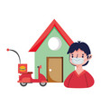delivery man and scooter in house ecommerce online vector image vector image