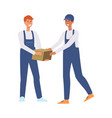 delivery men or couriers passing a box vector image vector image