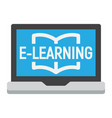 e learning flat icon education and online vector image vector image