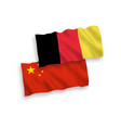flags of belgium and china on a white background vector image