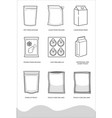 flexible packaging outline icons vector image vector image
