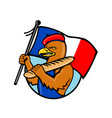 french eagle holding flag and baguette cartoon vector image