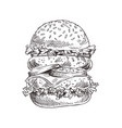 hand drawn double burger monochrome sketch vector image