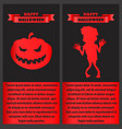 happy halloween poster with zombie and pumpkin set vector image vector image